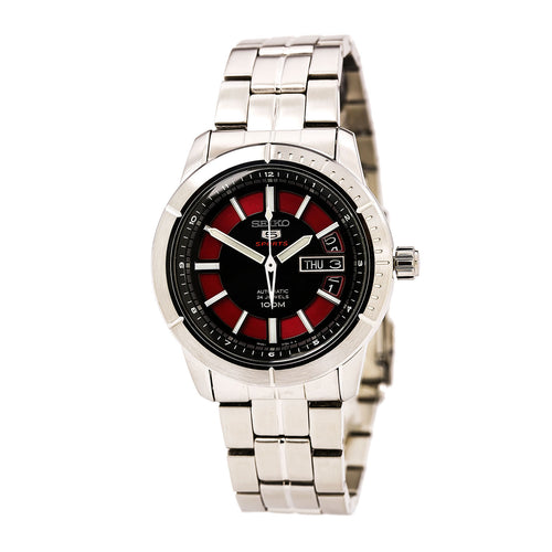 Seiko SRP339 Men's 5 Sports Red & Black Dial Stainless Steel Bracelet Automatic Watch