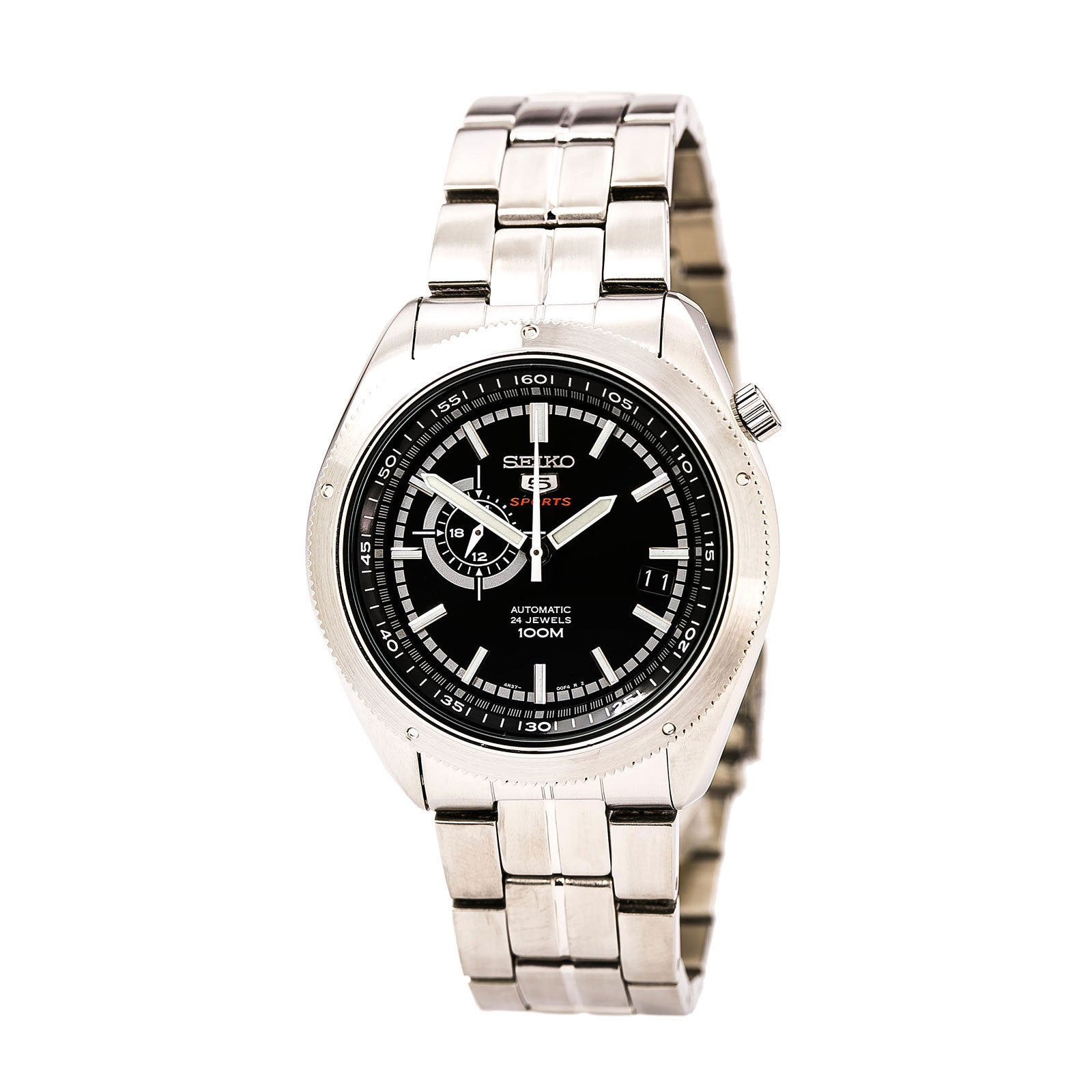 Seiko SSA065K1 Gent's Automatic Black Dial Black Strap Date Watch