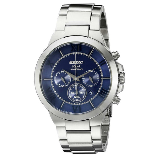 Seiko SSC281 Men's Recraft Chronograph Blue Dial Solar Power Reserve Stainless Steel Watch
