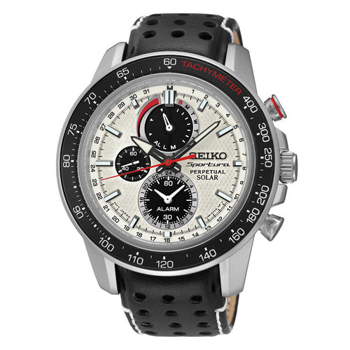 Seiko SSC359 Men's Sportura Solar White Dial Black Leather Strap Chronograph Alarm Watch