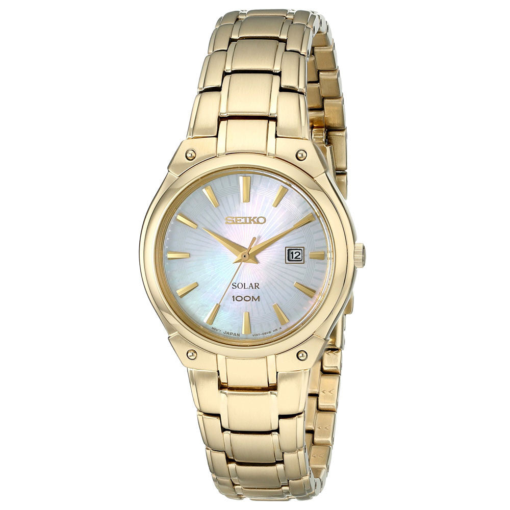 Seiko SUT130 Lady's Solar Core Dress MOP Dial Yellow Gold Watch