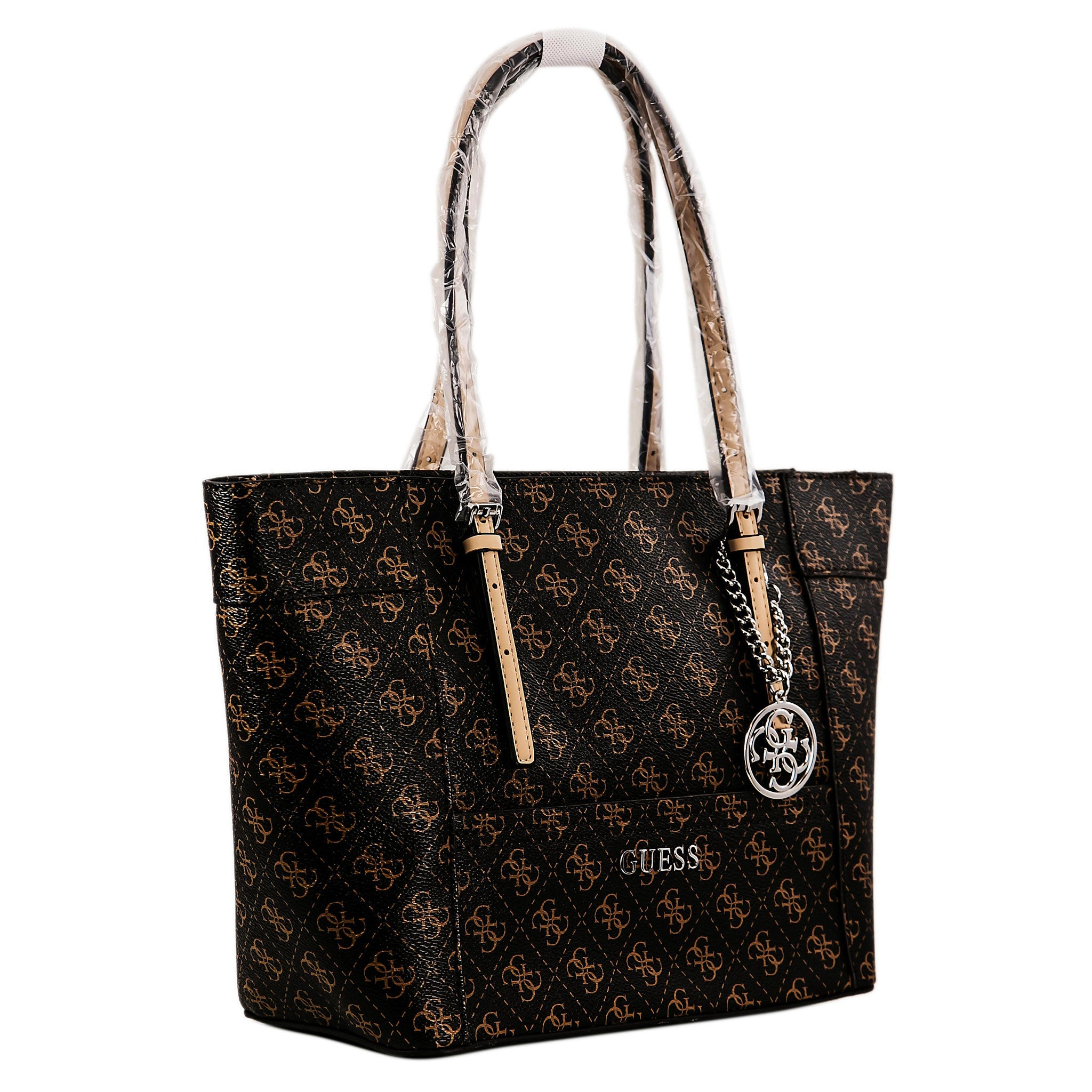 Guess SY453522BRO Women's Delaney Logo Brown PVC Faux Leather Small Classic Tote