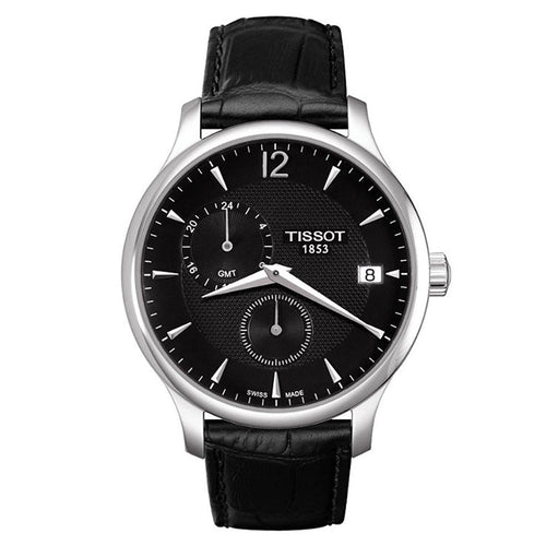 Tissot T063.639.16.057.00 Men's Tradition Black Dial Black Leather Strap GMT Watch