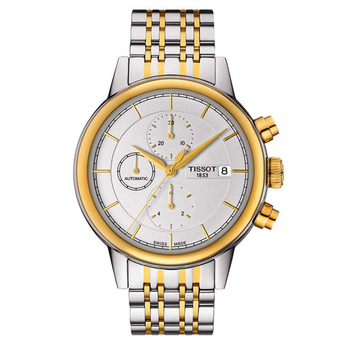 Tissot T085.427.22.011.00 Men's T-Classic Carson Silver Dial Two Tone Steel Chrono Automatic Watch