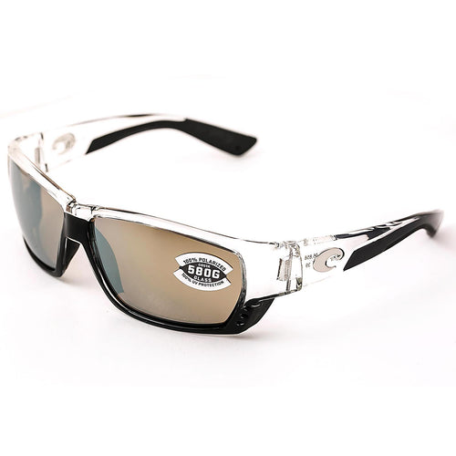 Costa Del Mar TA39OSCGLP Tuna Alley Silver Mirror W580G Polarized Lenses Shiny Crystal TR 90 Nylon Frame Sunglasses