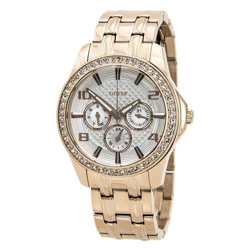 Guess U0147L3 Women's Polished Glamour White Dial Rose Gold Steel Bracelet Watch