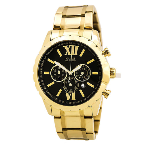 Guess U0193G1 Men's Iconic Signature Sporty Black Dial Yellow Gold Steel Bracelet Chronograph Watch