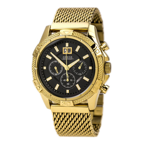 Guess U0205G1 Men's Black Dial Gold Plated Steel Mesh Bracelet Chronograph Watch