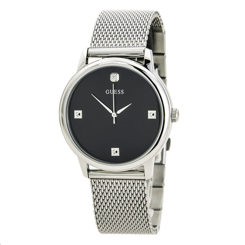 Guess U0280G1 Men's Diamond Black Dial Steel Mesh Bracelet Watch