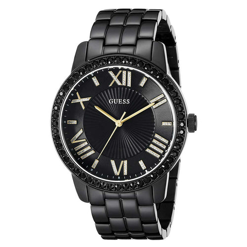 Guess U0329L5 Women's Luxe Oversized Black Dial Black IP Steel Bracelet Crystal Watch