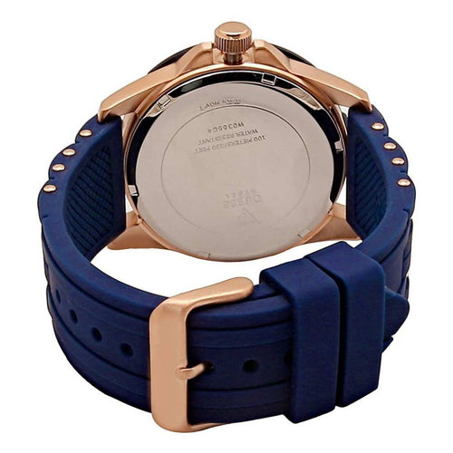 Guess U0366G4 Men's Iconic Signature Blue Dial Rose Gold Steel & Blue Silicone Strap Watch