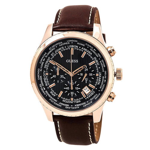 Guess U0500G1 Men's Iconic Signature Blue Dial Brown Leather Strap Chrono World Time Watch