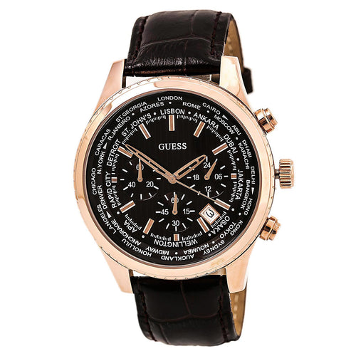 Guess U0500G3 Men's Iconic Signature Brown Dial Brown Leather Strap Chrono World Time Watch