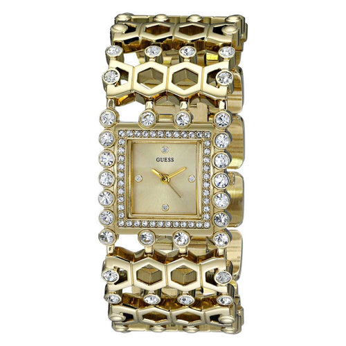 Guess U0574L2 Women's Gold Dial Yellow Gold Steel Cuff Bracelet Crystal Watch
