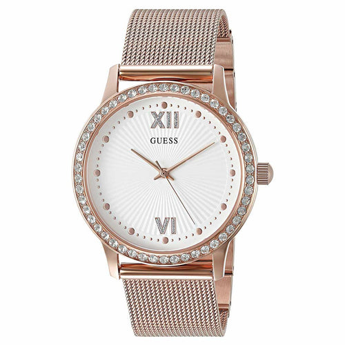 Guess U0766L3 Women's Iconic Signature White Dial Rose Gold Steel Mesh Bracelet Crystal Watch
