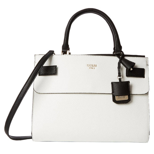 Guess VG621606 Women's Cate White Multi Pebbled Faux Leather Satchel