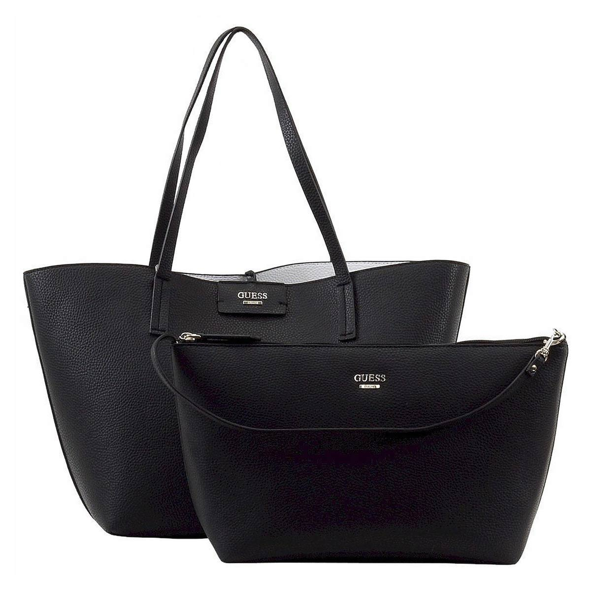Guess VG642223BLW Women's Bobbi Inside Out Black Multi Pebbled Faux Leather Tote Set