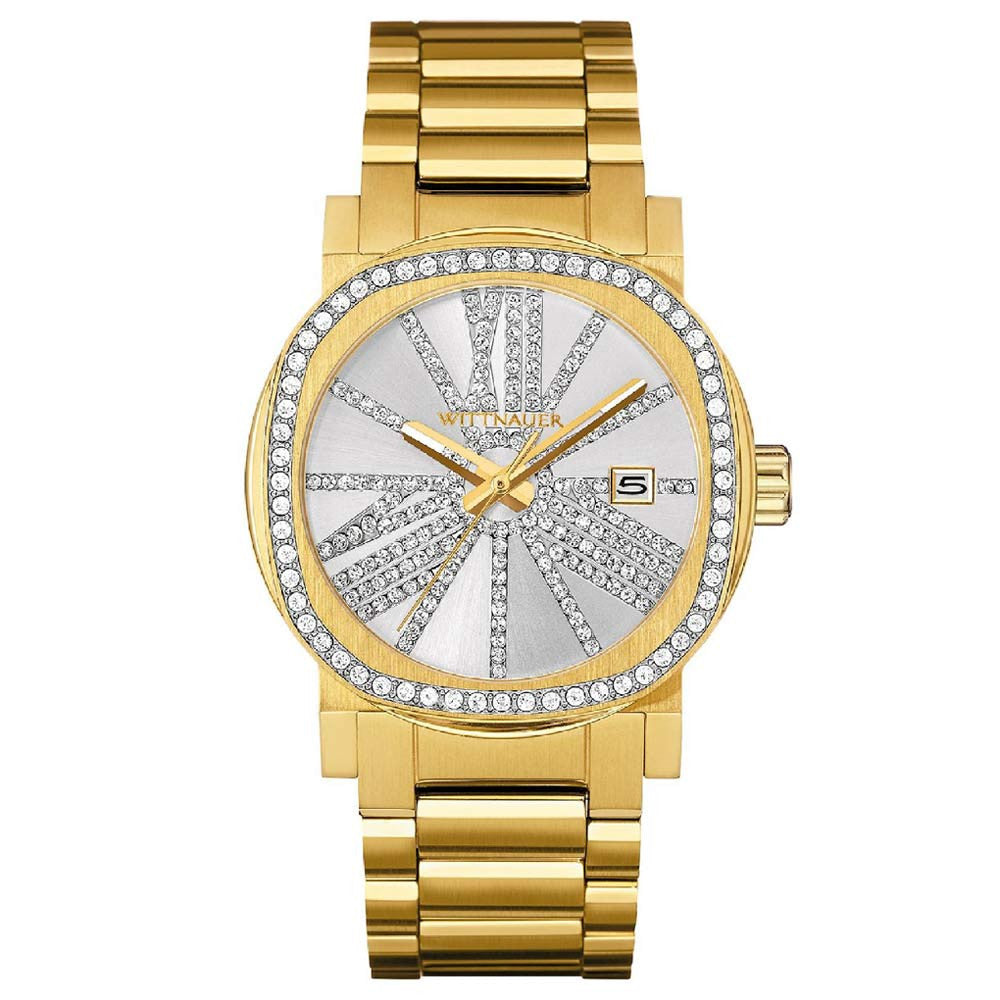 Gold Tone Crystal Bezel and Dial Watch - Wittnauer WN4007