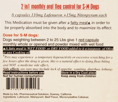 2 In 1 Monthly Oral Flea Control - 6 Capsules Small to Medium Dog