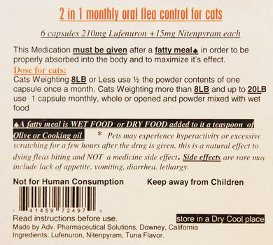 2 in 1 Monthly Oral Flea Control For Cats - 6 Capsules