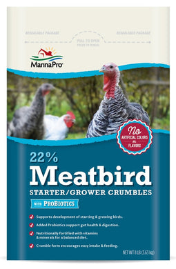 22% Meatbird Starter-Grower Crumbles with Priobiotics