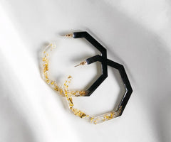 Adwoa - Black & Gold Hoop Earrings