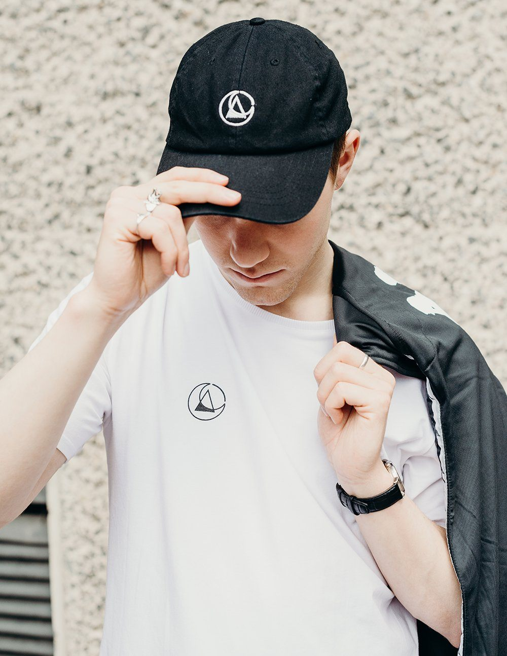 black embroidered cap by ethical gender neutral streetwear fashion brand Androgyny UK