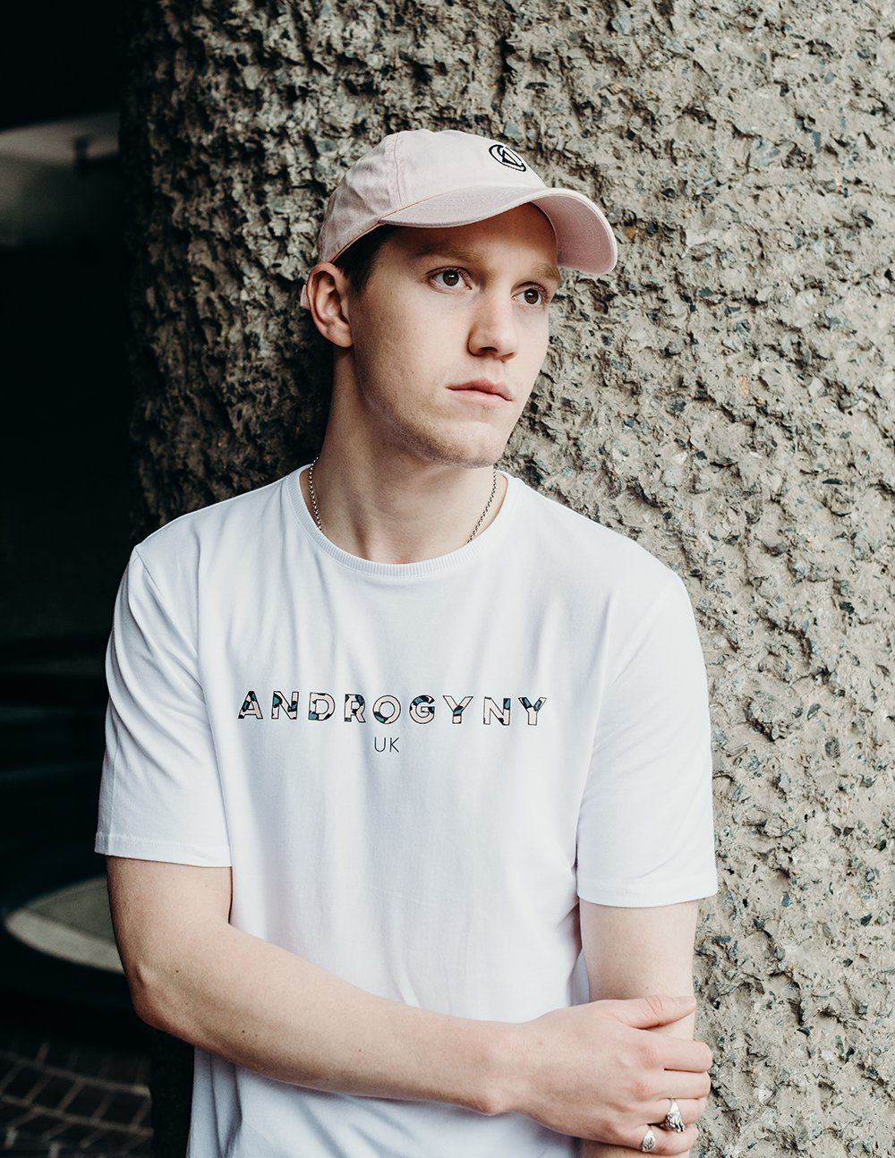 unisex white branded t-shirt handmade using organic cotton by ethical gender neutral streetwear brand Androgyny UK