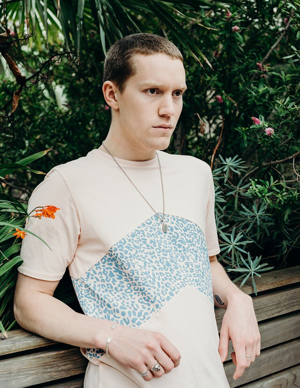pink panel t shirt with blue printed panel handmade using organic cotton by ethical gender neutral streetwear fashion brand Androgyny UK