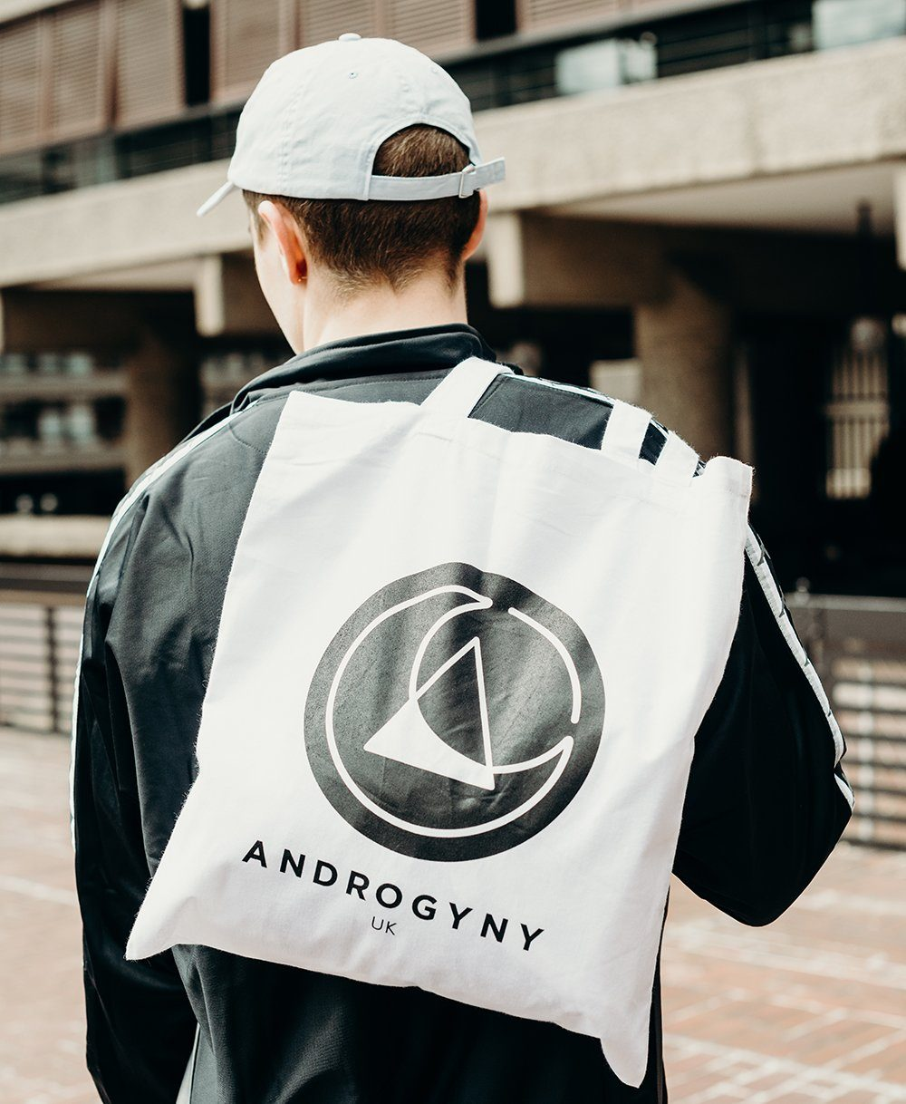 printed tote bag by ethical gender neutral streetwear fashion brand Androgyny UK