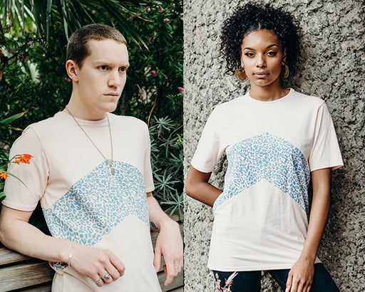 unisex pink panel t shirt with blue printed panel handmade using organic cotton by ethical gender neutral streetwear fashion brand Androgyny UK