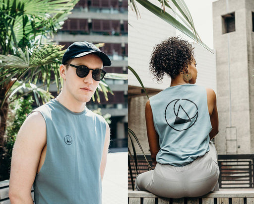unisex blue printed vest handmade using organic cotton by ethical gender neutral streetwear brand Androgyny UK