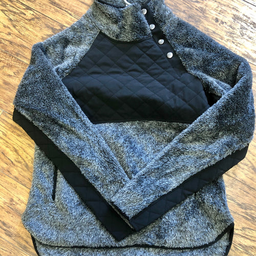 Black side button fuzzy fleece