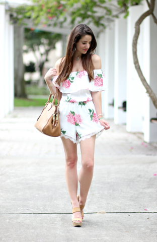 Womens Floral Off Shoulder Romper