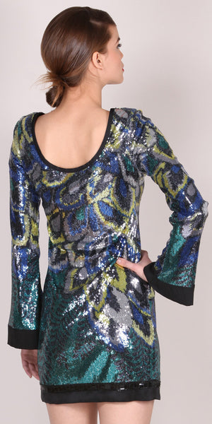 Blue Long Sleeve Sequin Dress