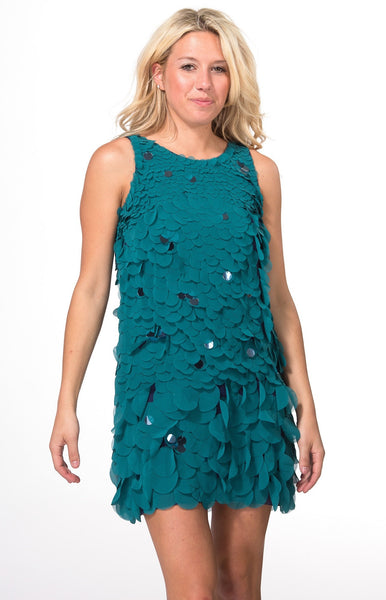 Teal Sleeveless Palette Cocktail Dress