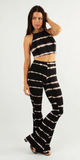 Black & White Tie Dye Crop Top & Flare Pant Set