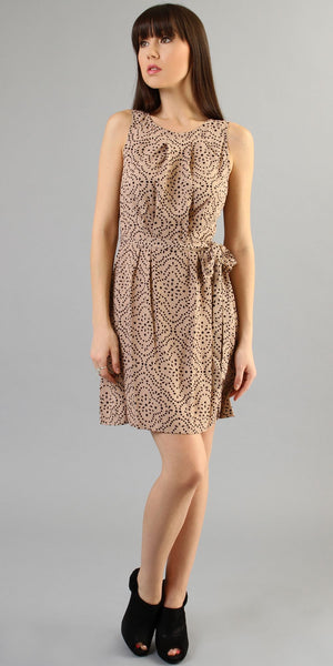 Vintage Nude Pleated Shift Dress