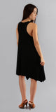 Black Asymmetrical Ribbed Tank Dress