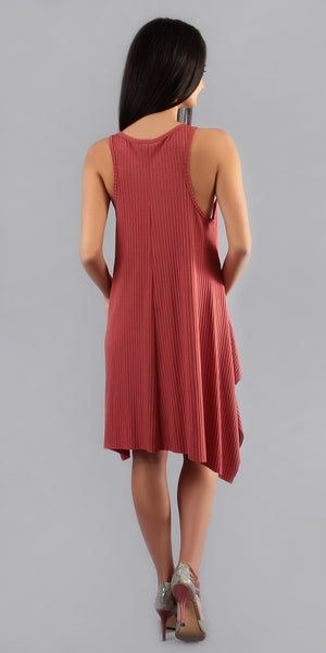 Brick Red Asymmetrical Ribbed Tank Dress