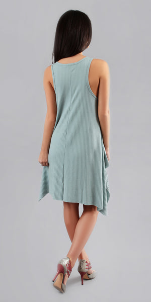 Slate Blue Asymmetrical Ribbed Tank Dress