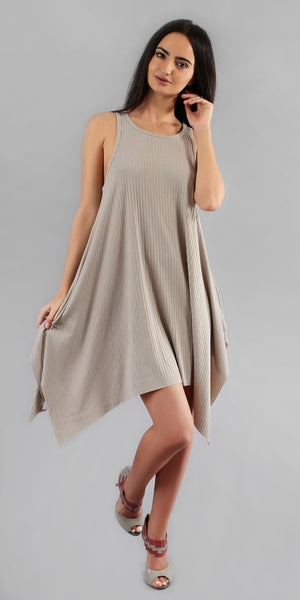Beige Asymmetrical Ribbed Tank Dress