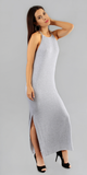 Sleeveless Full Length Heather Grey Jersey Dress