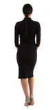 Black Ribbed Mock Turtleneck Midi Dress