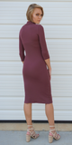 Maroon Red Ribbed Mock Turtleneck Midi Dress