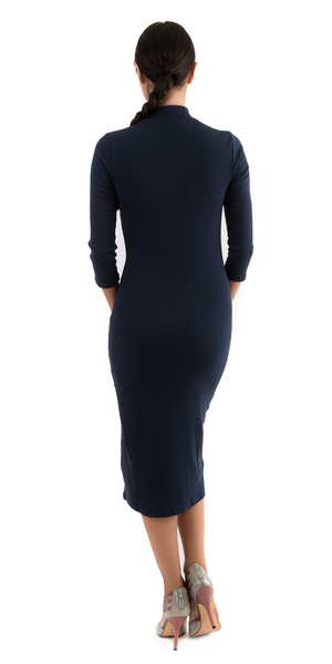Navy Blue Ribbed Mock Turtleneck Midi Dress