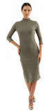 Green Ribbed Mock Turtleneck Midi Dress