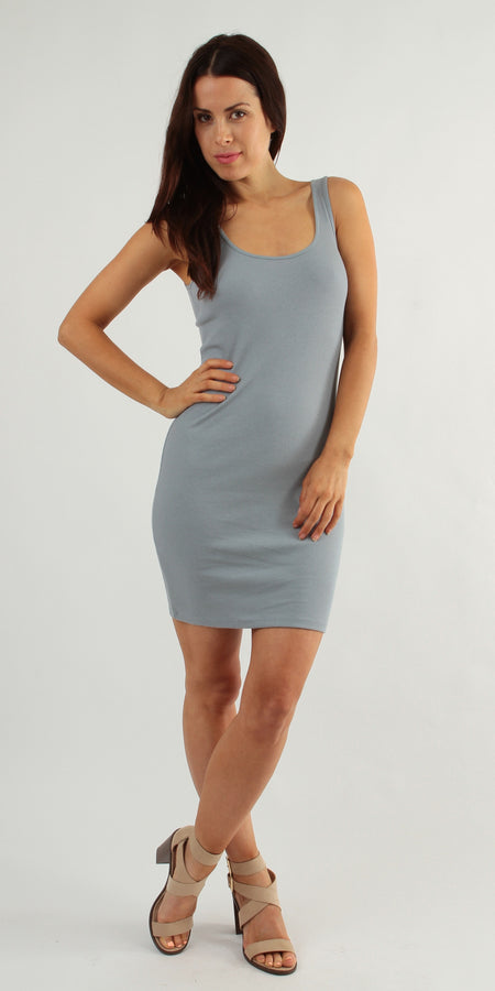 Zip Front Ribbed Knit Tank Dress