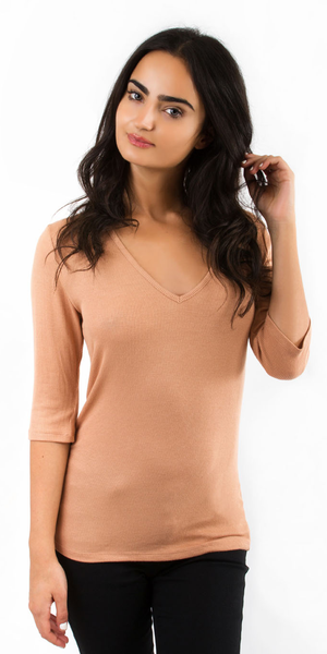 Peach Quarter Sleeve V Neck Ribbed Knit Top