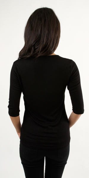 Black Quarter Sleeve V Neck Ribbed Knit Top